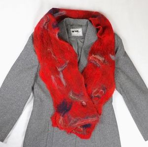 Orange red abstract wavy wooly scarf